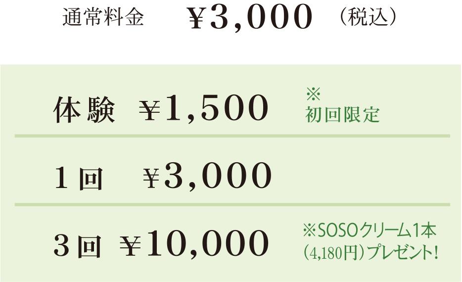 スタンダードコース 通常料金¥3,000(税込)体験 ¥1,500※初回限定             1回 ¥3,000 3回 ¥10,000 ※SOSOクリーム1本(4,180円)プレゼント!