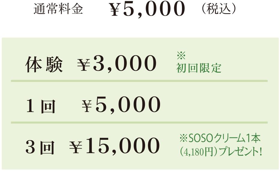 スタンダードコース+ 小顔リフトアップ 通常料金¥5,000(税込)体験 ¥3,000 ※初回限定  1回 ¥5,000 3回 ¥15,000 ※SOSOクリーム1本(4,180円)プレゼント!